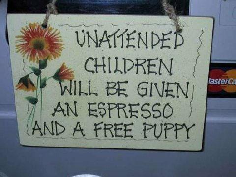 unattended children given espresso and puppy