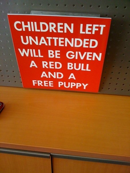 unattended children given red bull free puppy