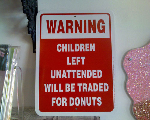 unattended children traded for donuts